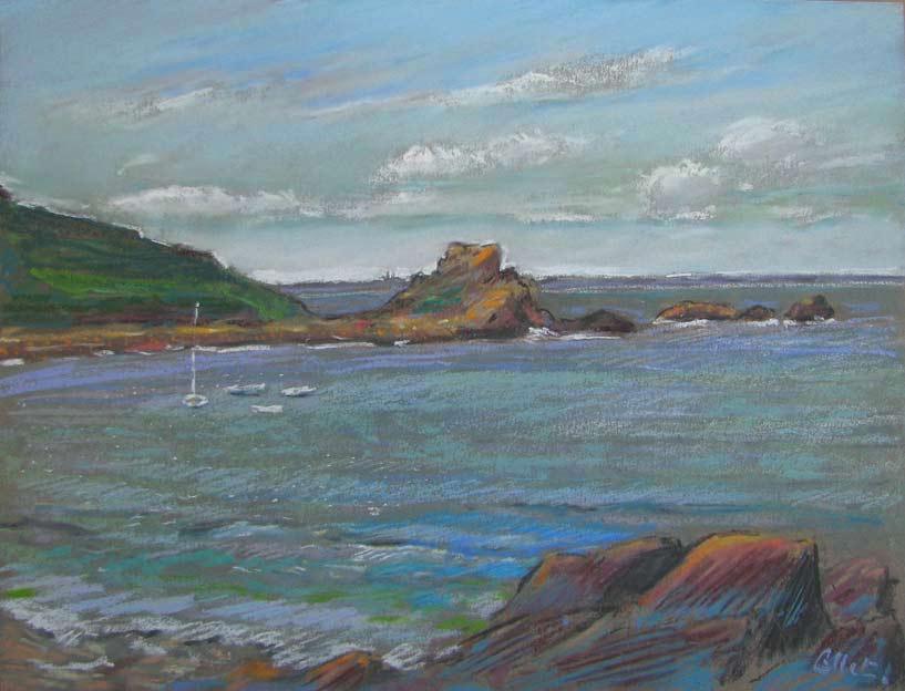 Bernard collet pastels de bretagne baie de morlaix l 39 anse du port blanc - Meteo port blanc bretagne ...